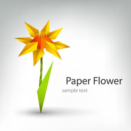 paper origami: vector origami flower