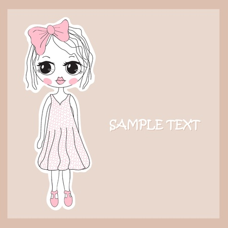 drawing a girl in a dress Stock Vector - 9842037