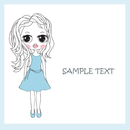 drawing a girl in a dress Stock Vector - 9842036