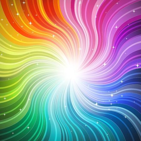 light burst: Regenbogen-Wave Background mit glitzernden Sternen Illustration