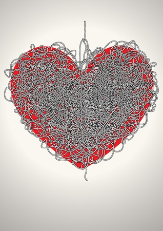 trait: maze in the shape of a heart Illustration