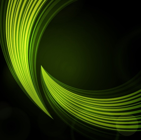 green background with waves of light Vector