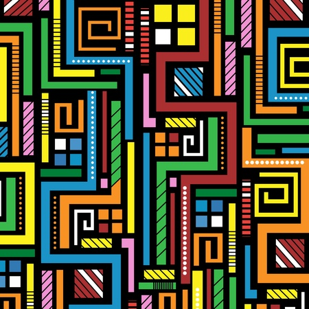 mosaic abstract: dark background with bright colored lines