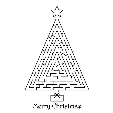 laberinto: Árbol de Navidad en el fondo blanco Vectores