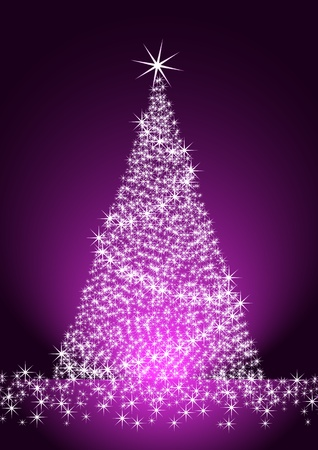 purple stars: Christmas tree on purple background