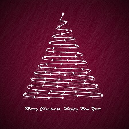 Christmas tree on red background Stock Vector - 10609349