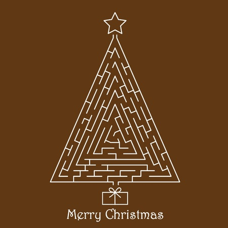 Christmas tree on brown background Vector