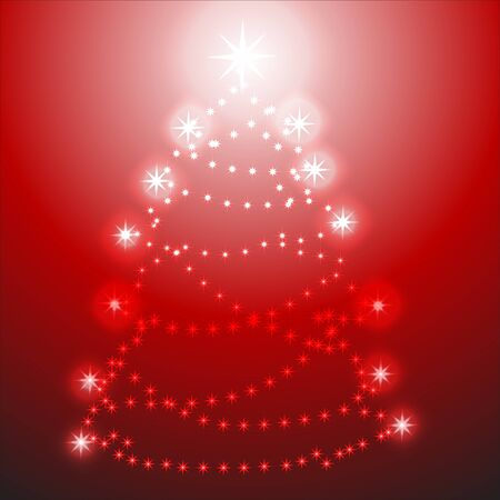 Christmas tree on red background Stock Vector - 10609333