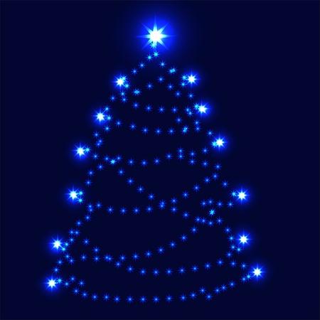 star background: Christmas tree  Illustration