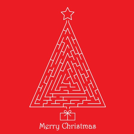 Christmas tree on red background Vector
