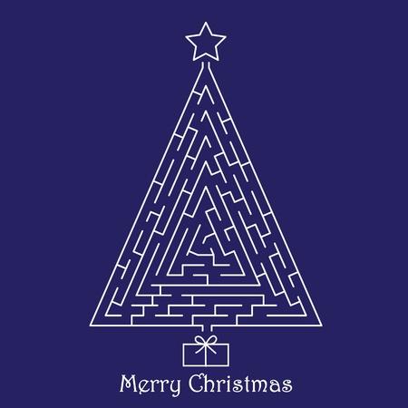 blue lights: Christmas tree on blue background Illustration