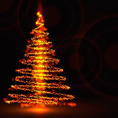 orange swirl: Christmas tree  Illustration
