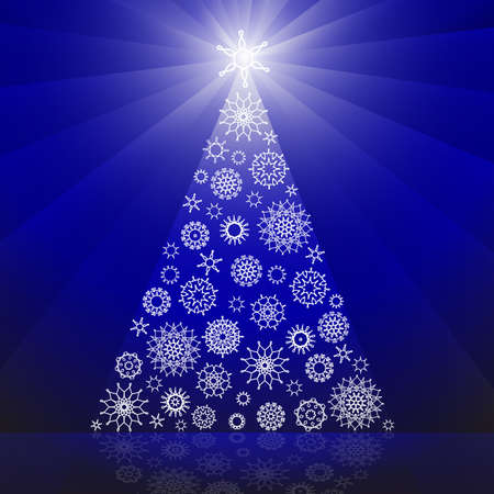Christmas tree made of snowflakes Stock Vector - 10609376