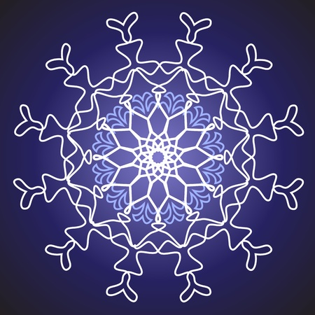white snowflake on a blue background Stock Vector - 10648490