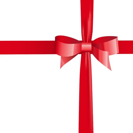red tape: vector satin ribbon tied in a bow