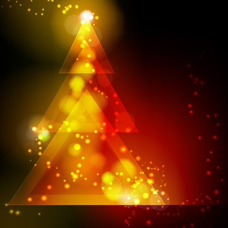 Christmas tree on red background Ilustrace