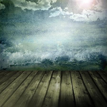 mare agitato: grunge background con acquerello mare e cielo