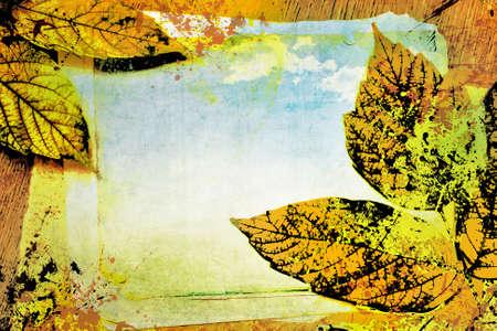 autumn arrangement: Autumn Arrangement with the landscape and leaves