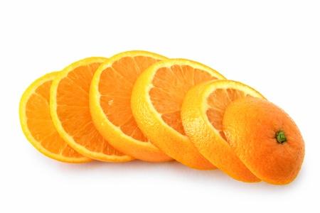 ripe orange cut into slices Standard-Bild