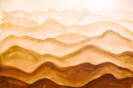 water stained: mountains, painted watercolor on paper