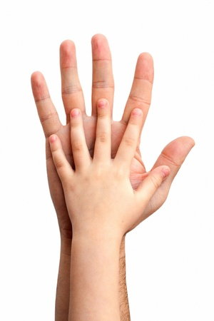 hands of the child in the hands of the father Stock Photo - 10840488
