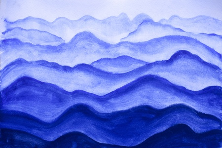 mountains, painted watercolor on paper photo