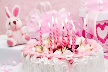 cake with candles, pink, gifts, roses photo