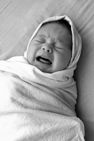 portrait of a sad baby photo