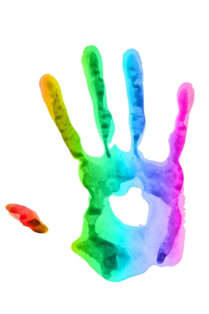blue print: imprint of the hands of bright colors Stock Photo