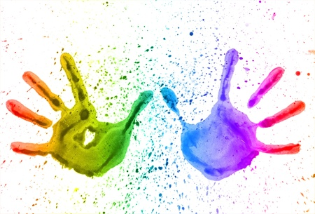 painted image: mark pairs of hands, bright colors