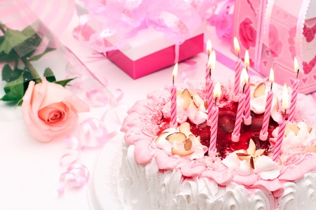 rose coloured: cake with candles, pink, gifts, roses
