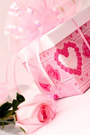 gift with ribbon, rose, pink, delicate color photo