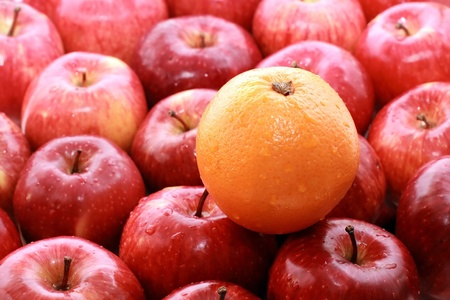 Apples and oranges isolated on a white background Standard-Bild