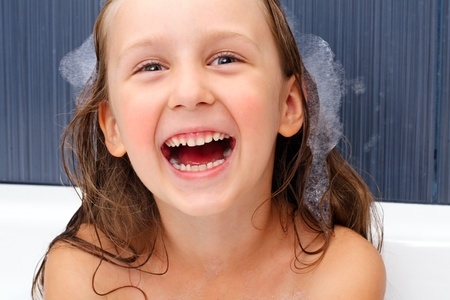 the girl is happy in the swimming bath Stock Photo - 10965733