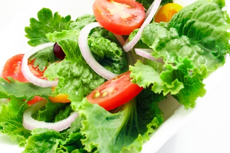 tasty tomato salad on a white cup Stock Photo - 10965762