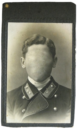 Vintage photo man on background. Faces cloned out. You can use the frame or add your face.