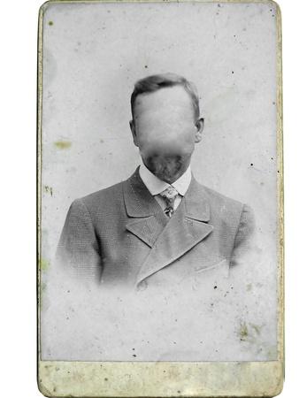 Hombre foto de época en el fondo. Caras clonado a cabo. Usted puede utilizar el marco o añadir su cara.