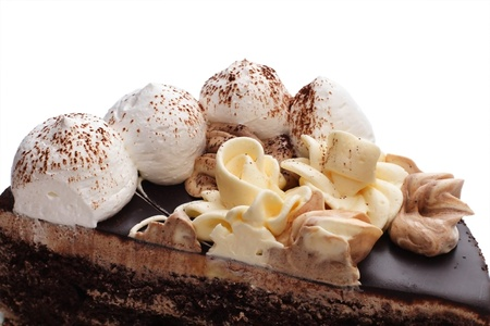 chocolaty: Birthday cake with cream on wight background