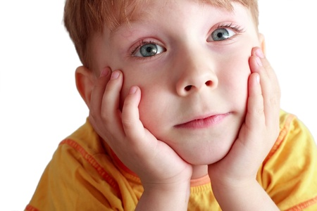 beautiful portrait of a boy on a white background Stock Photo - 11020430