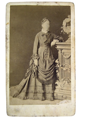 Vintage portrait of woman in the late 19 th century on background. You can use the frame or add your face.