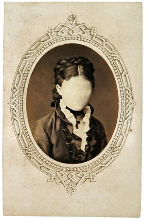 Vintage portrait of woman in the late 19 th century on background. You can use the frame or add your face.     photo