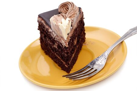 chocolate icing: Birthday cake with cream on wight background