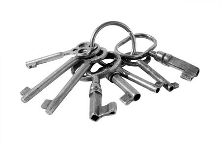 llave de sol: llaves antiguas sobre un fondo blanco. Teclas de edad muy avanzada, por lo tanto defectuoso.