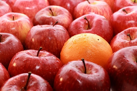 alone in crowd: Apples and oranges isolated on a white background Stock Photo