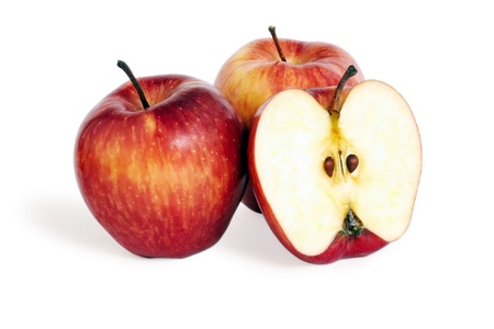 apple core: Three apples on a white background