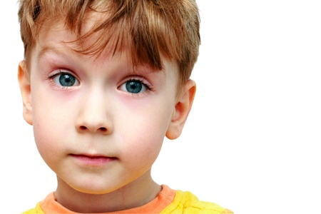 beautiful portrait of a boy on a white background photo