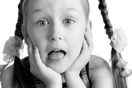 beautiful girl portrait on white background photo