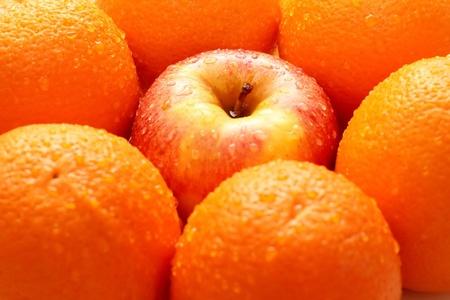 naranjas: Manzanas y naranjas aislados sobre un fondo blanco Foto de archivo