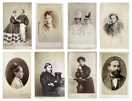 groep van oude foto's van de late negentiende eeuw Stockfoto