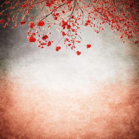 rowan tree: rowan berries bushes on the old background